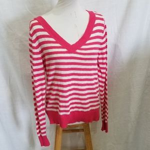 Maurices Pink & White Striped Knit Top